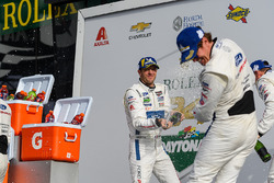 #66 Chip Ganassi Racing Ford GT, GTLM: Sébastien Bourdais celebrate with #67 Chip Ganassi Racing For