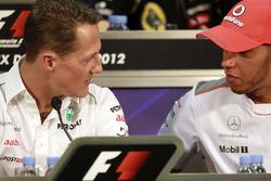 Michael Schumacher, Mercedes AMG and Lewis Hamilton, McLaren