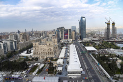 An aerial view of the pit straight, pit lane and surrounding buildings during Qualifying