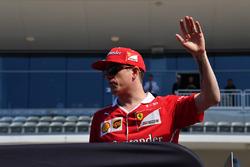 Kimi Raikkonen, Ferrari on the drivers parade at