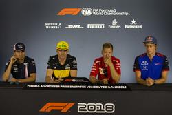 Sergio Perez, Force India, Nico Hulkenberg, Renault Sport F1 Team, Sebastian Vettel, Ferrari and Pierre Gasly, Scuderia Toro Rosso in the Press Conference