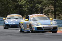 #36 Strategic Wealth Racing Porsche Cayman: Matthew Dicken, Corey Lewis, #8 Rebel Rock Racing Porsch