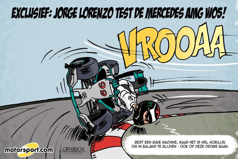 Cartoon van Cirebox - Jorge Lorenzo test Mercedes F1-bolide (op zijn manier)