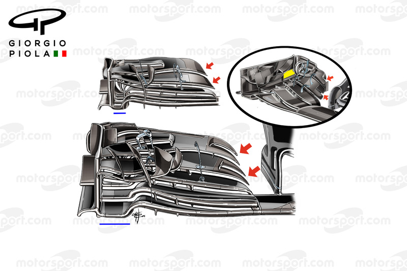 McLaren MP4/31 new front wing vs other specifications, Japanese GP