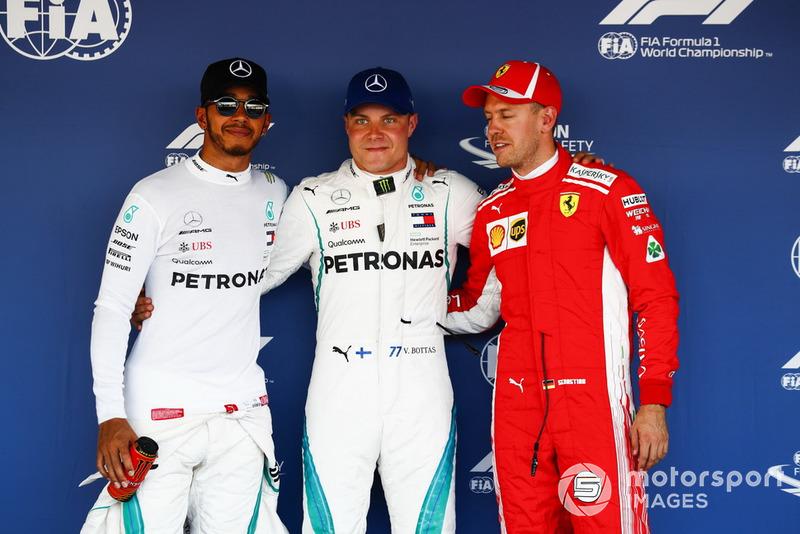 Топ-3 після кваліфікації, Льюіс Хемілтон, Mercedes AMG F1, володар поулу Валттері Боттас, Mercedes AMG F1 і Себастьян Феттель, Ferrari