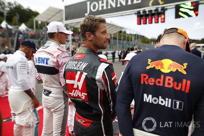 Max Verstappen, Red Bull Racing, Romain Grosjean, Haas F1 Team, Esteban Ocon, Racing Point Force India, y Lewis Hamilton, Mercedes AMG F1