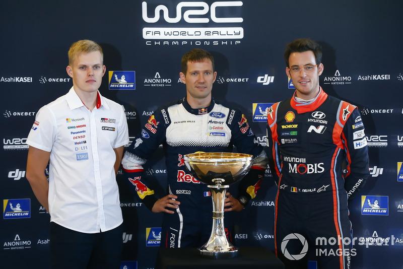 WRC-Titelkandidaten 2018: Ott Tänak, Toyota Gazoo Racing, Toyota Yaris, Sébastien Ogier, M-Sport Ford, Ford Fiesta Thierry Neuville, Hyundai Motorsport, Hyundai i20 Coupé