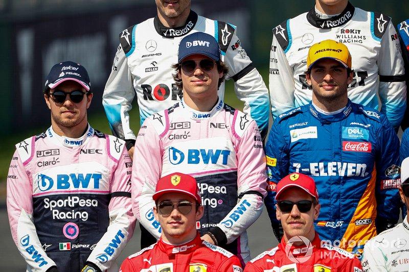 Sergio Perez, Racing Point, Lance Stroll, Racing Point y Carlos Sainz Jr., McLaren