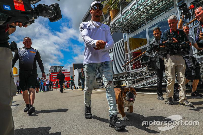Lewis Hamilton, Mercedes AMG F1, his dog Roscoe