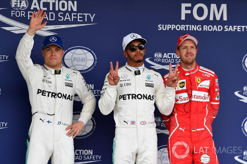 Pole de Lewis Hamilton, Mercedes AMG F1, Valtteri Bottas, Mercedes AMG F1, Sebastian Vettel, Ferrari