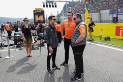 Landon Norris, Development Driver, McLaren, Eric Boullier, Racing Director, McLaren, Zak Brown, Executive Director, McLaren Technology Group