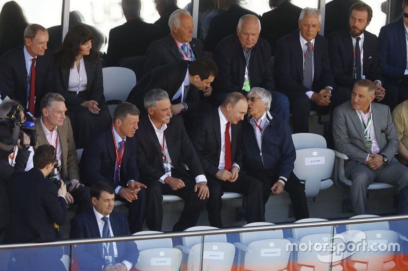 Sean Bratches, Managing Director of Commercial Operations, Formula One Group, Russian Prime Minister Dimitry Medvedev, Chase Carey, Chairman, Formula One, President Vladimir Putin and Bernie Ecclestone, Chairman Emeritus of Formula 1