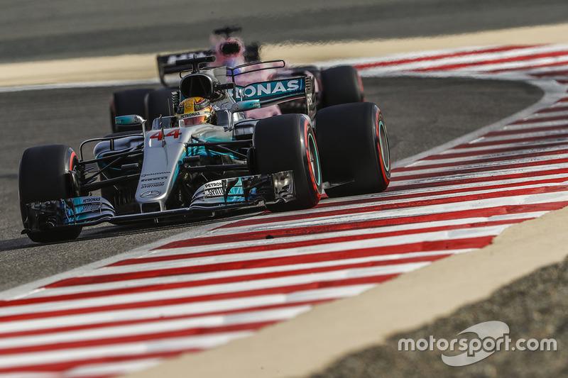 Lewis Hamilton, Mercedes AMG F1 W08, leads Sergio Perez, Force India VJM10