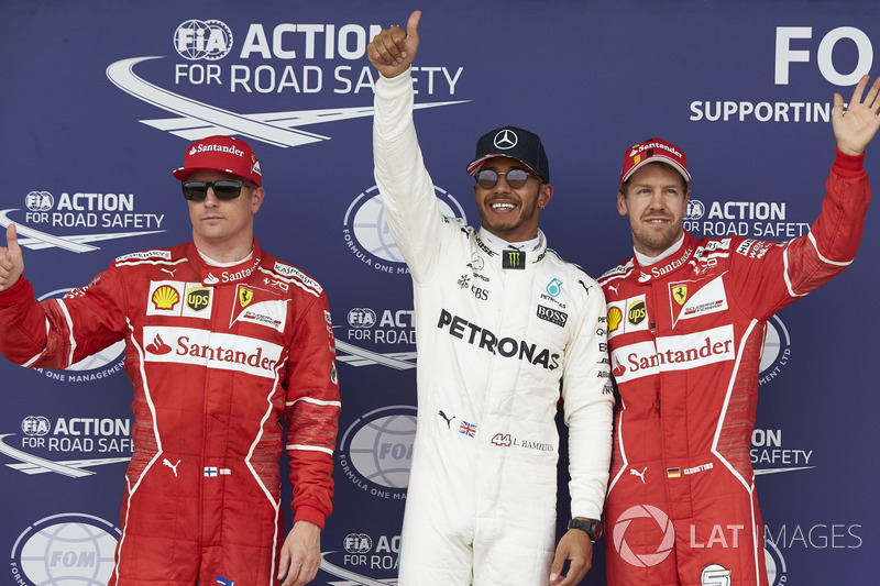 Top three qualifiers Lewis Hamilton, Mercedes AMG F1, Kimi Raikkonen, Ferrari, Sebastian Vettel, Ferrari