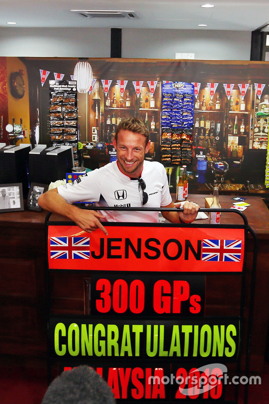 Jenson Button, McLaren celebrates his 300th GP with a theme pub