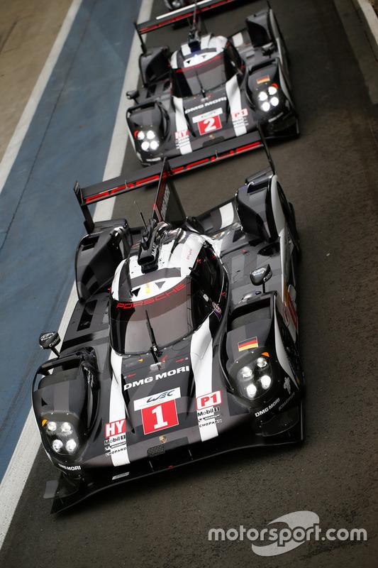 #1 Porsche Team, Porsche 919 Hybrid: Timo Bernhard, Mark Webber, Brendon Hartley; #2 Porsche Team, Porsche 919 Hybrid: Romain Dumas, Neel Jani, Marc Lieb