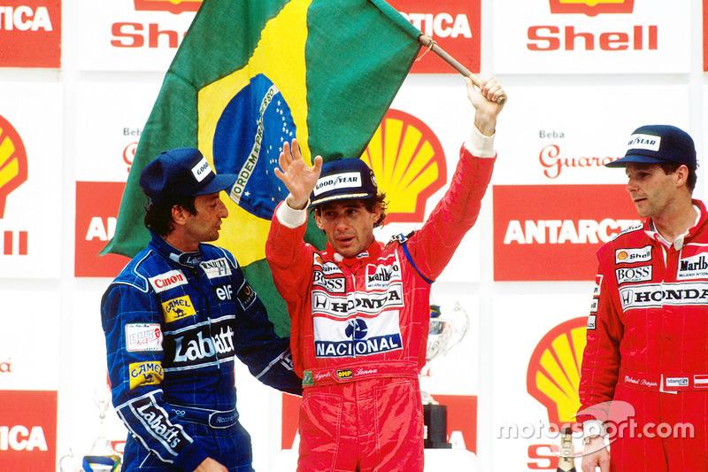 1991. Інтерлагос. Подіум: 1. Айртон Сенна, McLaren Honda. 2. Ріккардо Патрезе, Williams Renault. 3. Герхард Бергер, McLaren Honda
