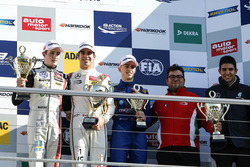 Podium: Race winner Lance Stroll, Prema Powerteam Dallara F312 - Mercedes-Benz; second place Joel Eriksson, Motopark Dallara F312 - Volkswagen; third place Jake Hughes, Carlin Dallara F312 - Volkswagen; Rene Rosin, Prema Powerteam; Esteban Ocon