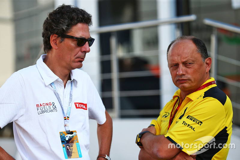 (L to R): Pierre-Gautier Caloni, Total Vice President of Sponsoring & Motorsport Division with Frederic Vasseur, Renault Sport F1 Team Racing Director
