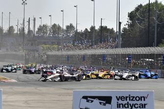 Will Power, Team Penske Chevrolet, Ryan Hunter-Reay, Andretti Autosport Honda, Josef Newgarden, Team Penske Chevrolet, start