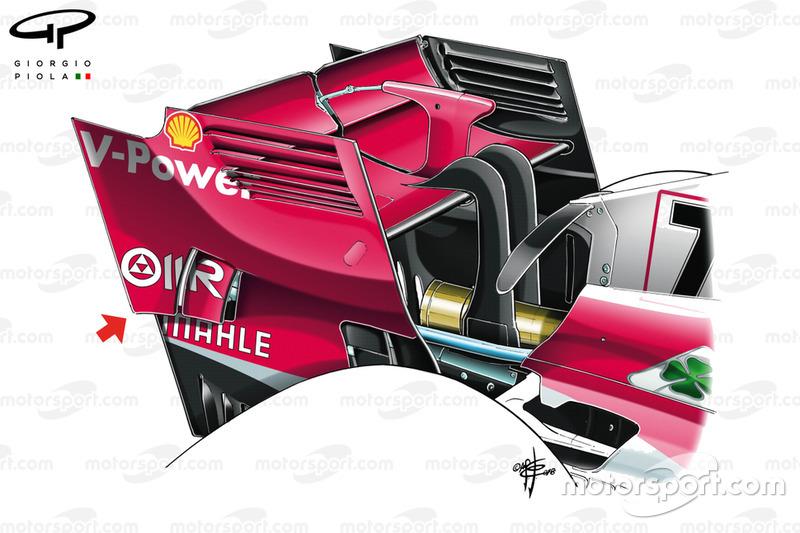 Ala trasera del Ferrari SF71H en el GP de Singapur