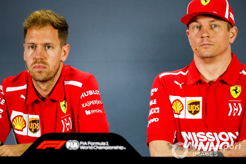 Sebastian Vettel, Ferrari, and Kimi Raikkonen, Ferrari, in the press conference