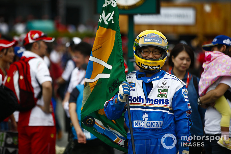 A fan dressed as Ayrton Senna