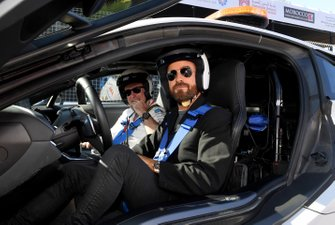 Actor Justin Theroux prepares to drive the Safety Car
