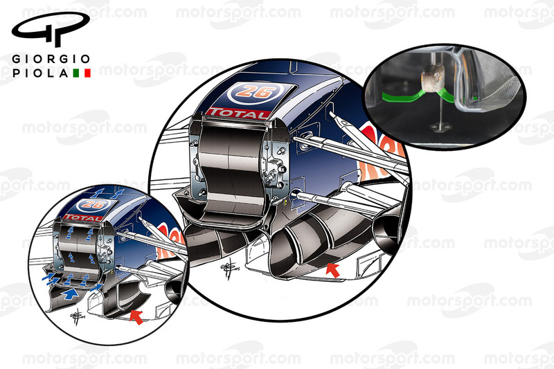 Red Bull RB11: Luftleitelemente unter dem Chassis