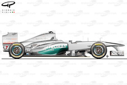 Mercedes W02 side view, launch car