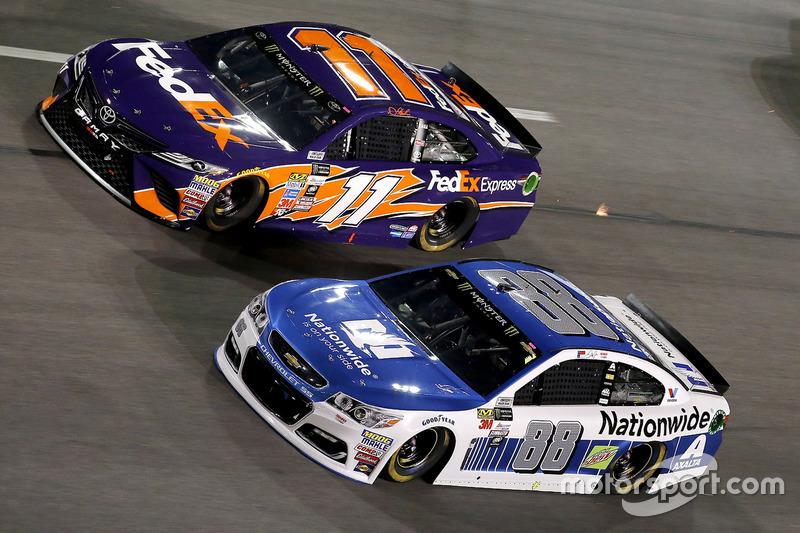 Dale Earnhardt Jr., Hendrick Motorsports, Chevrolet; Denny Hamlin, Joe Gibbs Racing, Toyota