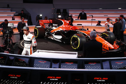 Fernando Alonso, McLaren, is interviewed by the media