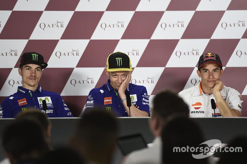 Valentino Rossi, Yamaha Factory Racing, Maverick Vinales, Yamaha Factory Racing, Marc Marquez, Repsol Honda Team