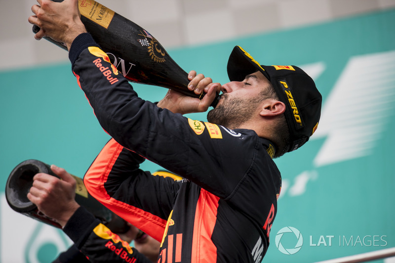 third place Daniel Ricciardo, Red Bull Racing, celebrates, Champagne on the podium