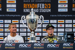 Le vainqueur David Coulthard et Petter Solberg lors de la conférence de presse