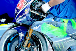 The bike Maverick Viñales, Yamaha Factory Racing after the crash