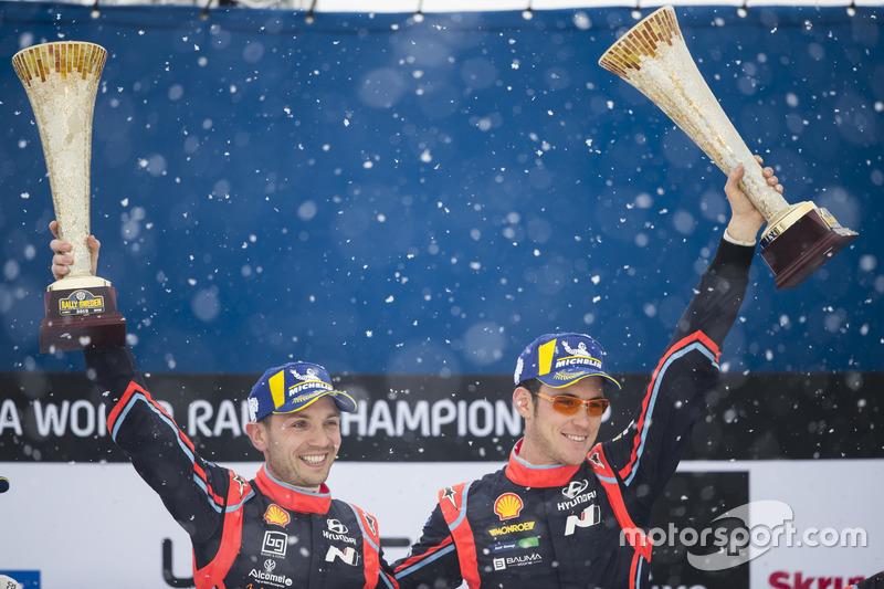 Los ganadores del Rally de Suecia 2018: Neuville, Nicolas Gilsoul, Hyundai i20 WRC, Hyundai Motorsport