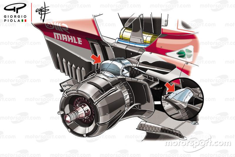 Ferrari SF71H rear suspension comparison