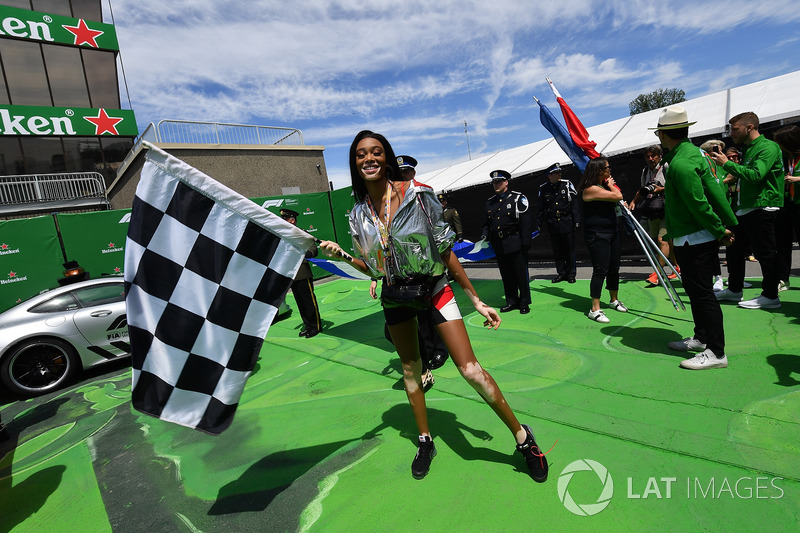 Winnie Harlow, and chequered flag