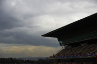 Overcast clouds over the pit straight grandstand