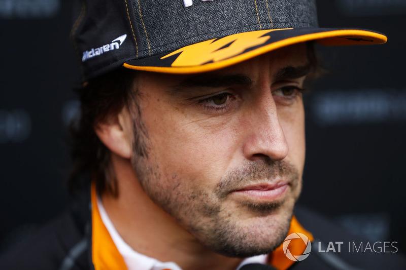 Fernando Alonso, McLaren, speaks to the media