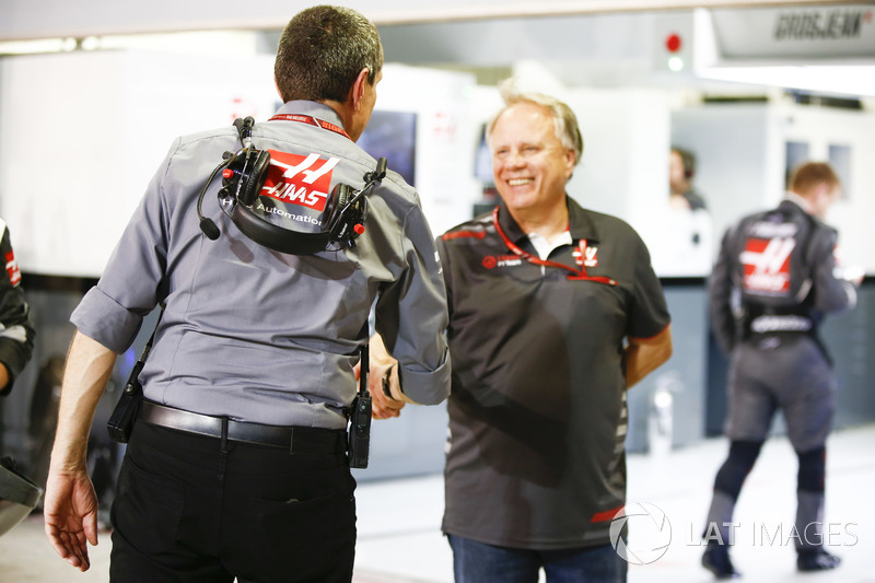 Guenther Steiner, Team Principal, Haas F1, and Gene Haas, Team Owner, Haas F1, celebrate a good resu
