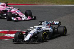 Lance Stroll, Williams FW41 Mercedes, leads Sergio Perez, Force India VJM11 Mercedes