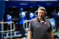 Haas F1 team member in the pit lane