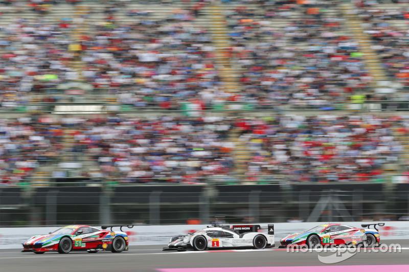 #51 AF Corse Ferrari 488 GTE: Gianmaria Bruni, James Calado; #1 Porsche Team Porsche 919 Hybrid: Timo Bernhard, Mark Webber, Brendon Hartley; #71 AF Corse Ferrari 488 GTE: Davide Rigon, Sam Bird