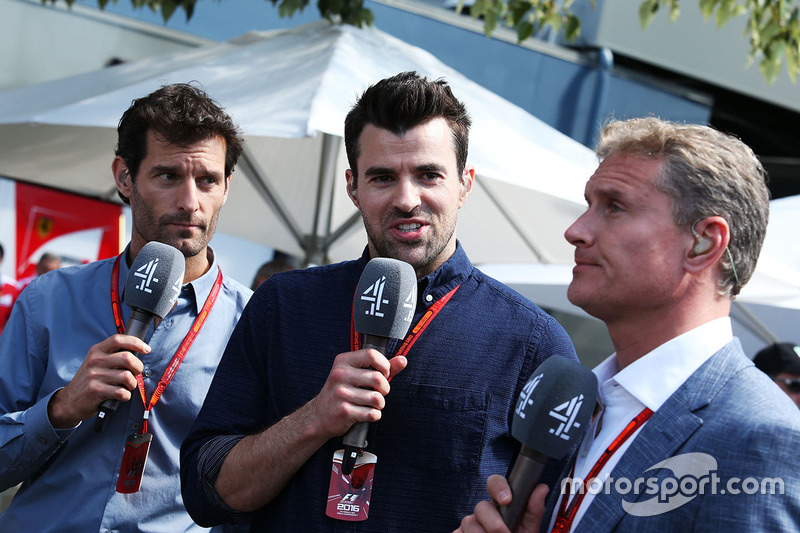 Mark Webber, Porsche Team WEC Driver and Channel 4 Presenter with Steve Jones, Channel 4 F1 Presenter and David Coulthard, Red Bull Racing and Scuderia Toro Advisor and Channel 4 F1 Commentator