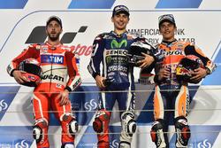 Podium: Racwinnaar Jorge Lorenzo, Movistar Yamaha MotoGP, Yamaha; tweede plaats Andrea Dovizioso, Du