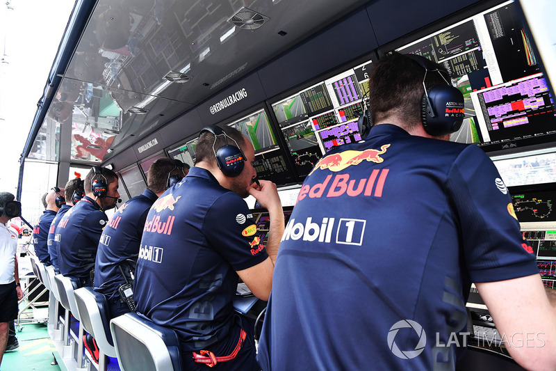 Red Bull Racing pit wall gantry