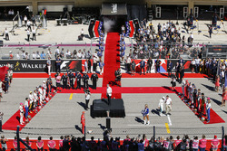 The drivers arrive during the pre-race presentation