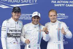 Polesitter Felipe Massa, Williams F1, second place Valterri Bottas, Williams F1, and third placeNico Rosberg, Mercedes AMG